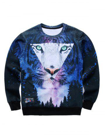 3D Starry Sky and Tiger Print Round Neck Long Sleeve Sweatshirt