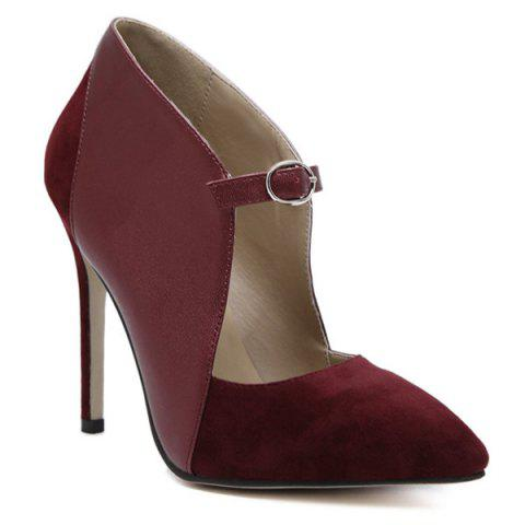 New Suede Spliced Pointed Toe Cut Out Pumps WINE RED 39