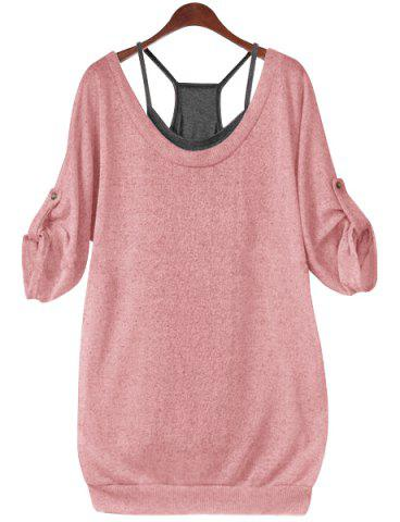 Stylish Scoop Neck Half Sleeve Hollow Out Front Lace-Up T-Shirt + Solid Color Tank Top Women's Twinset - Pink - 4xl