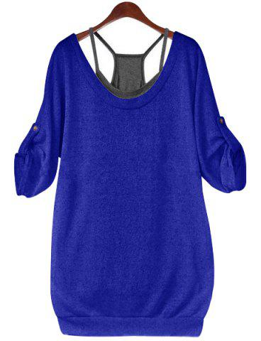 Stylish Scoop Neck Half Sleeve Hollow Out Front Lace-Up T-Shirt + Solid Color Tank Top Women's Twinset - Sapphire Blue - 3xl