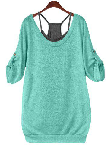 Buy Stylish Scoop Neck Half Sleeve Lace-Up Hollow T-Shirt + Solid Color Tank Top Women's Twinset - Green 4XL