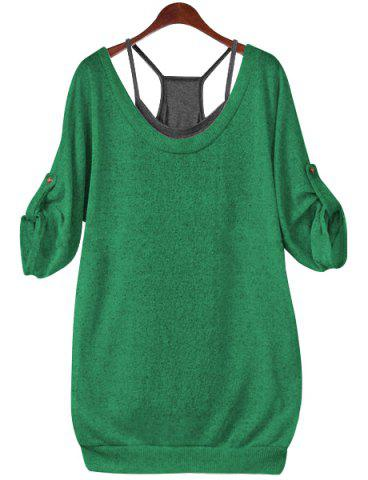 Buy Stylish Scoop Neck Half Sleeve Lace-Up Hollow T-Shirt + Solid Color Tank Top Women's Twinset - Jade Green 4XL