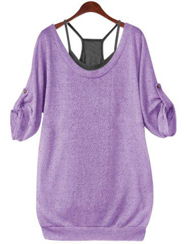 Buy Stylish Scoop Neck Half Sleeve Lace-Up Hollow T-Shirt + Solid Color Tank Top Women's Twinset - Purple 4XL