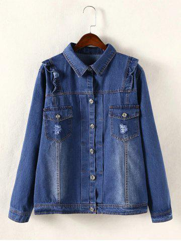 Discount Frayed Pocket Design Flounce Ripped Jean Jacket