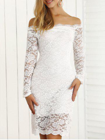 Best Off-The-Shoulder Scalloped Slimming Lace Dress