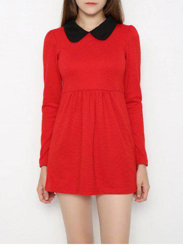 Affordable Peter Pan Collar Contrast Color Dress