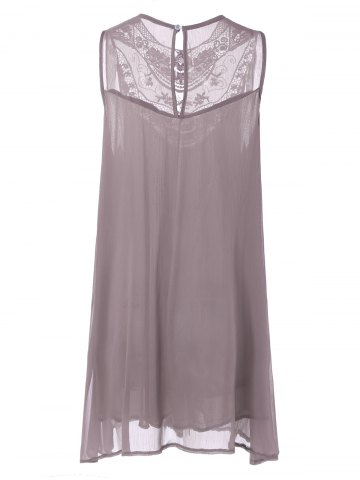 Chic Embroidered Lace Insert Plus Size Casual Sleeveless Dress - 5XL PINK Mobile