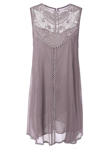 Outfits Embroidered Lace Insert Plus Size Casual Sleeveless Dress PINK 2XL