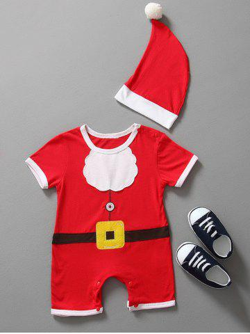 Christmas Clothes Santa Claus Outfits Kids Romper - Red - 80