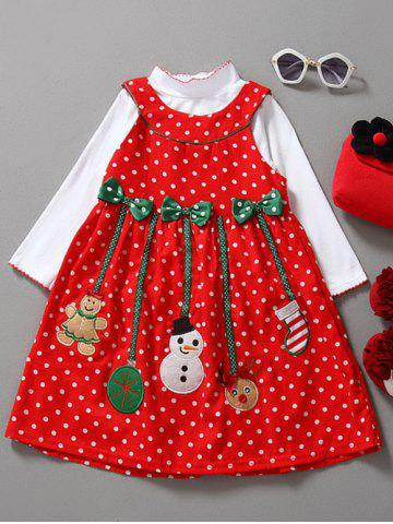 Long Sleeve Top and Christmas Dress 2 PCS - Red - 90