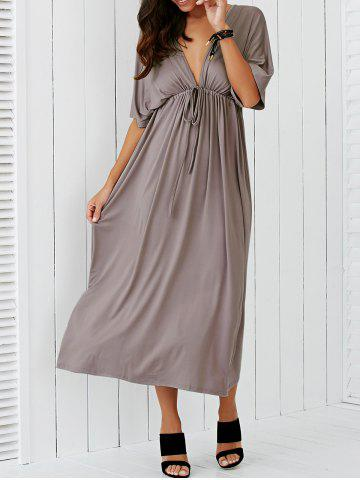 Plunging Neck Empire Waist Casual Maxi Dress - Apricot - M