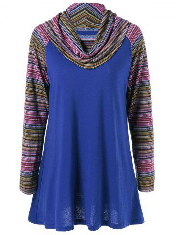 Online Cowl Neck Colorful Striped T-Shirt - BLUE XL Mobile