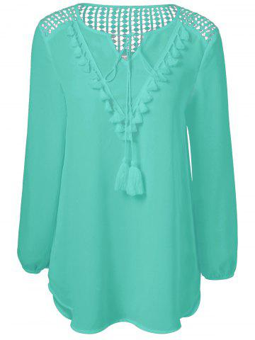 Tassles Splicing Long Sleeve Chiffon Blouse - Verdigris - 2xl
