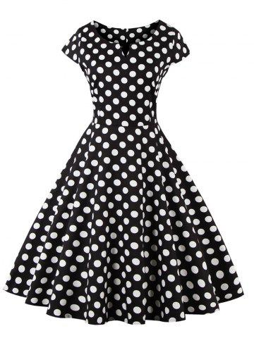 Hot Retro Polka Dot Fit and Flare Dress BLACK 4XL