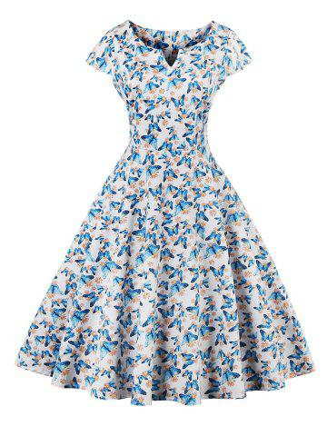 Unique Retro Butterfly Pattern Skater Dress