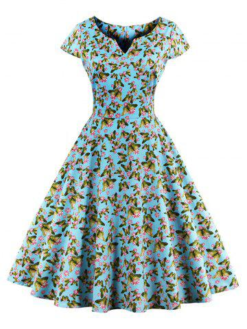 Retro Butterfly Pattern Skater Dress - AZURE S