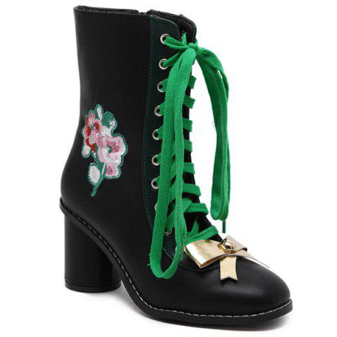 New Lace-Up Metallic Bow Floral Embroidery Short Boots