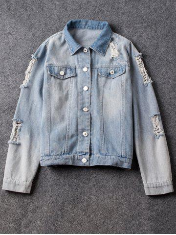 Discount Shirt Neck Ripped Light Denim Jacket