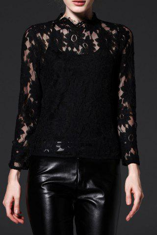See Through Lace Long Sleeve Top