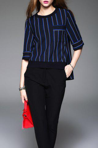 Striped Asymmetric Pull Blouse