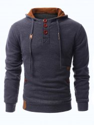 Drawstring Hooded PU-Leather Splicing Button Embellished Long Sleeve Men's Hoodie - DEEP GRAY