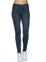 Fake Denim Design Leggings - BLACK BLUE