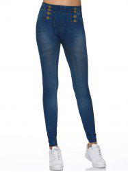 Fake Button Design Leggings - DENIM BLUE