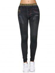 Leopard Print Fake Button Design Leggings - BLACK