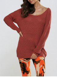 Textured Loose-Fitting Long Sweater -