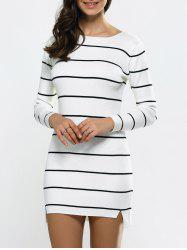 Asymmetric Striped Side Slit Tunic Jumper Dress