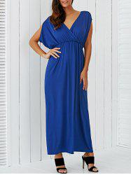 V Neck Empire Waist Surplice Maxi Dress
