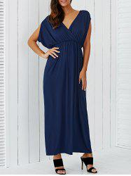 V Neck Empire Waist Surplice Maxi Evening Dress
