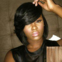 Short Straight Side Bang Bob Haircut Human Hair Capless Wig