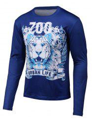 3D Lion Print Round Neck Long Sleeve T-Shirt -