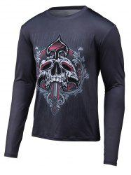 Skull 3D Print col rond T-shirt manches longues