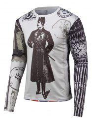 3D Gentleman Print Round Neck Long Sleeve T-Shirt - GRAY 4XL