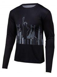 3D Building Print Round Neck Long Sleeve T-Shirt - BLACK 4XL