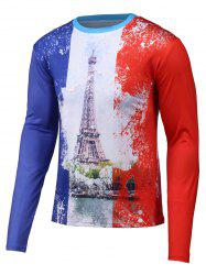 Color Splicing 3D Tower Print Long Sleeve T-Shirt