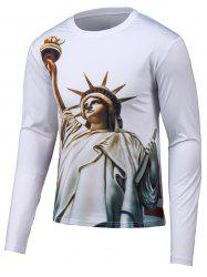 Round Neck 3D Statue Print Long Sleeve T-Shirt - WHITE