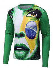 Abstract 3D Print Round Neck Long Sleeve T-Shirt -