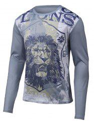 Lion 3D Printed Round Neck Long Sleeve T-Shirt -