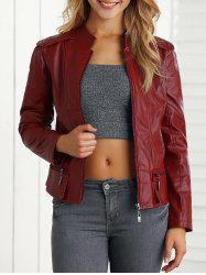 Fake Leather Biker Jacket - WINE RED