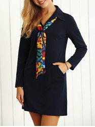 Long Sleeves Buttoned Shift Dress with Scarf