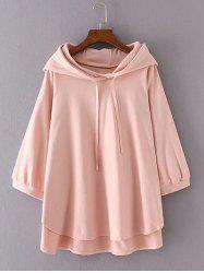 3/4 Sleeves High Low Back Printed Hoodie - LIGHT PINK