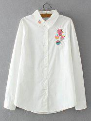 Long Sleeves Embroidered Cake Pattern Shirt