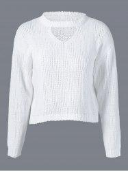 Long Sleeve Ripped Knitwear