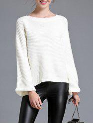 Pullover Bell Sleeve Knitwear - WHITE ONE SIZE