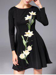 Retro Style Floral Embroidery Dress -