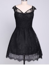 Lace Insert Mini A Line Party Dress