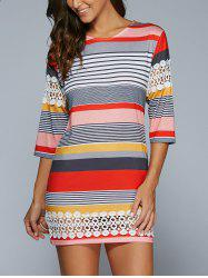 3/4 Sleeve Striped Lace Spliced Mini Shift Dress - COLORMIX